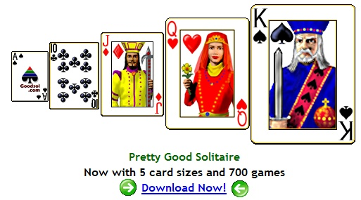 Pretty Good Solitaire - Now with 5 card sizes and 740 games including FreeCell